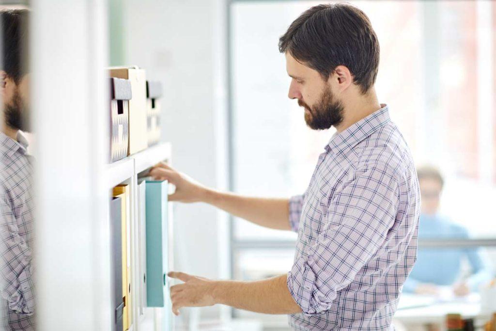 Man checks office information